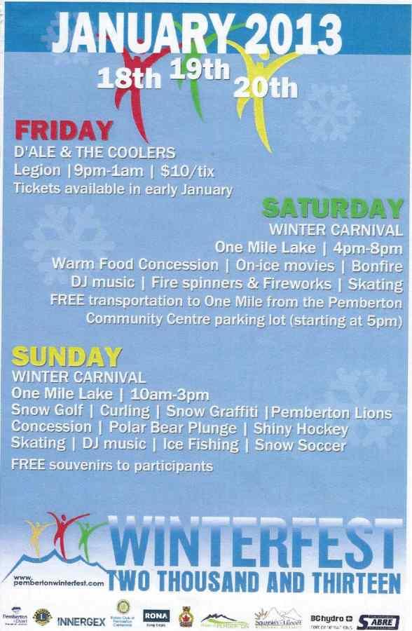 Pemberton Winterfest 2013 Schedule