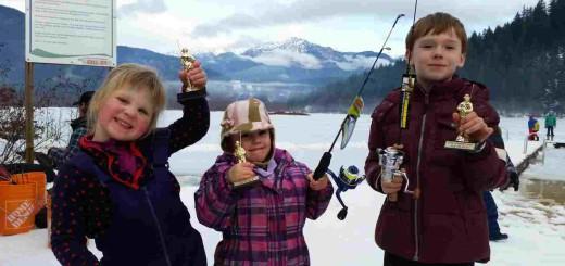Winners of the 2015 Pemberton Winterfest Kids Ice fishing derby
