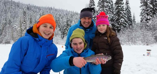 Kids love ice fishing in Whistler