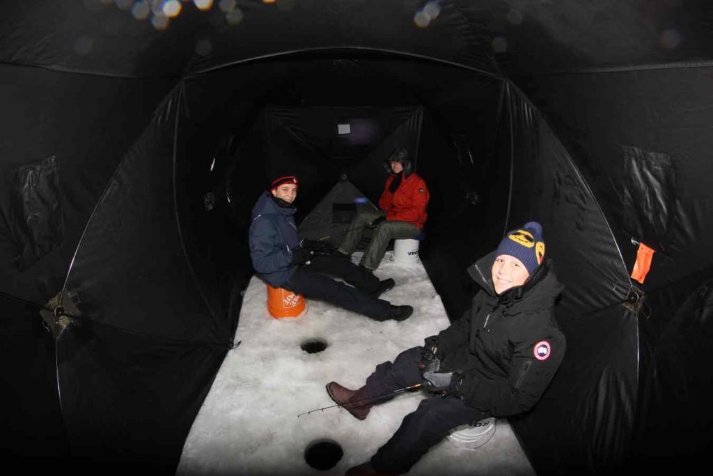 Ice fishing in an Ice Hut