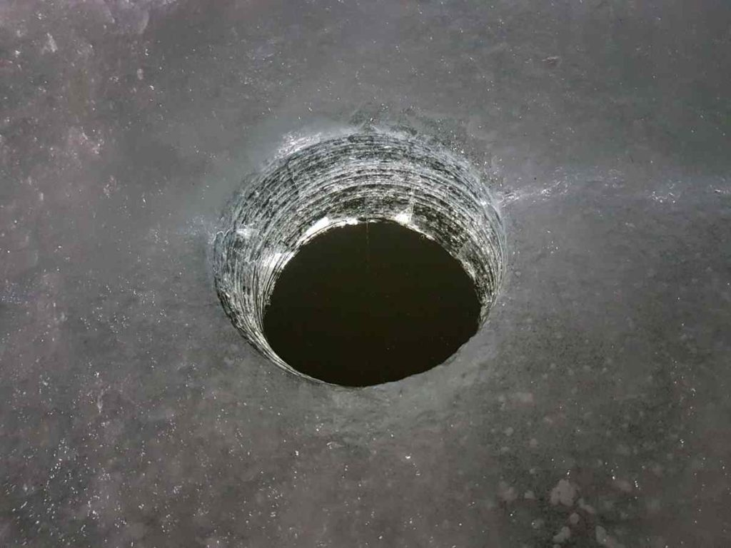 Ice fishing hole
