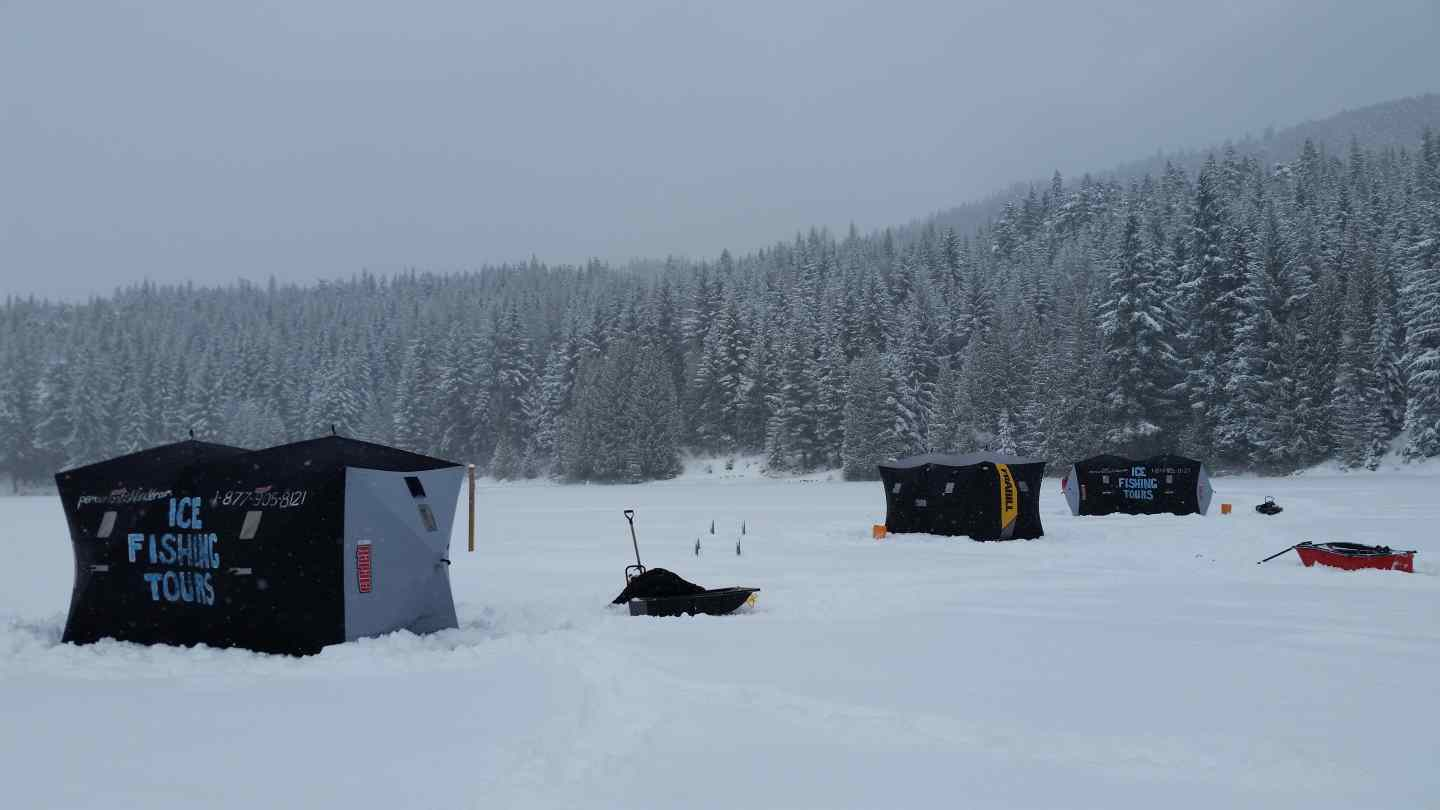 Ice fishing huts set up on lost lake in whistler bc bc for Ice fishing setup