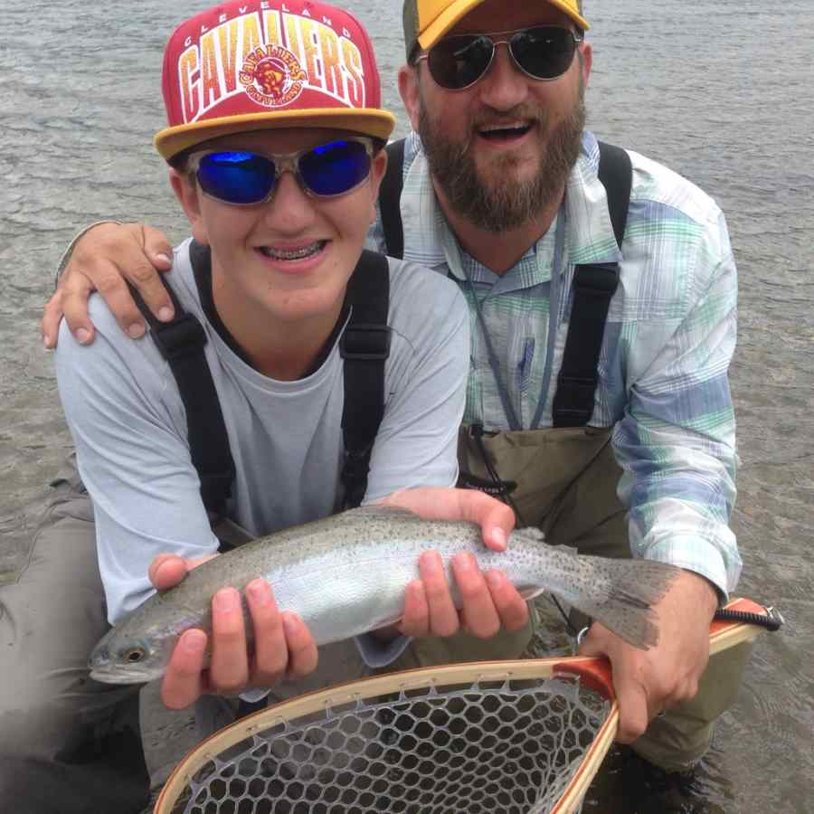 Father and Son fly fishing in BC Canada