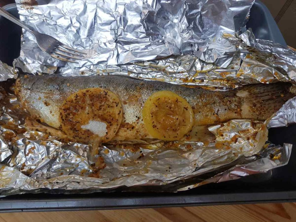 Delicious Rainbow Trout cooked on the BBQ