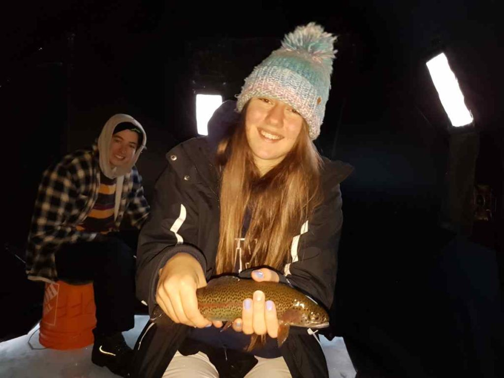 Ice fishing in an Ice Hut